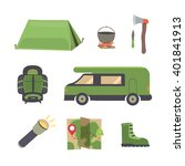 set camping equipment vector... | Shutterstock .eps vector #401841913