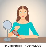 woman with alopecia holding a... | Shutterstock .eps vector #401902093