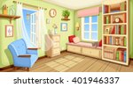Vector cozy room interior with bookcase, couch and armchair. | Shutterstock vector #401946337