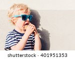 cute kid boy with sunglasses... | Shutterstock . vector #401951353
