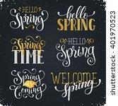 hand written spring time... | Shutterstock .eps vector #401970523