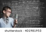 curious school boy with... | Shutterstock . vector #401981953