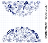 doodle set with flowers  birds... | Shutterstock .eps vector #402012037