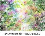 watercolor landscape. spring.... | Shutterstock . vector #402015667