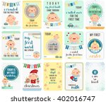 Stock vector baby boy stepping stone cards 402016747