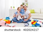 happy family mother  father and ... | Shutterstock . vector #402024217
