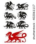 medieval heraldic dragons black ...