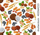 wholesome nuts and seeds ... | Shutterstock .eps vector #402064213