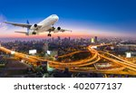 airplane take off over the... | Shutterstock . vector #402077137