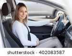 pregnant woman driving her car  ... | Shutterstock . vector #402083587