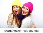 cute spring fashion portrait of ... | Shutterstock . vector #402102703