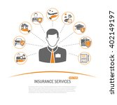 insurance services concept in... | Shutterstock .eps vector #402149197