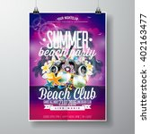 vector summer beach party flyer ... | Shutterstock .eps vector #402163477