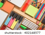 school office supplies on a... | Shutterstock . vector #402168577