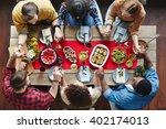 pray before dinner | Shutterstock . vector #402174013