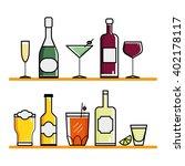glasses and bottles set.... | Shutterstock .eps vector #402178117