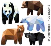 bear set colorful low poly... | Shutterstock .eps vector #402183043