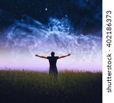 silhouette of man and stars sky.... | Shutterstock . vector #402186373