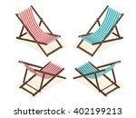 wooden beach chaise  longue... | Shutterstock .eps vector #402199213