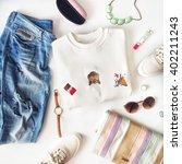 female fashion stuff on white...   Shutterstock . vector #402211243