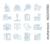 vecor icons with medical check... | Shutterstock .eps vector #402243583
