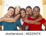 group of young friends having... | Shutterstock . vector #40225474