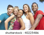 group of young friends having... | Shutterstock . vector #40225486