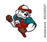 dog plumber holding a big... | Shutterstock .eps vector #402330547