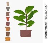 green indoor flat style ficus... | Shutterstock .eps vector #402364627
