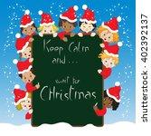 children with christmas... | Shutterstock .eps vector #402392137