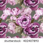 double tulips pink pattern... | Shutterstock . vector #402407893