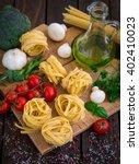 preparing tagliatelle  | Shutterstock . vector #402410023