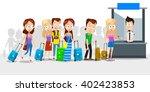 big queue of different people... | Shutterstock .eps vector #402423853