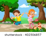 boys and girls jumping for joy... | Shutterstock . vector #402506857