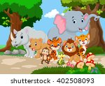 wild animal cartoon in a... | Shutterstock . vector #402508093