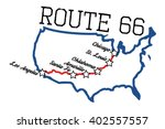 Route 66 With Main Cities Map....
