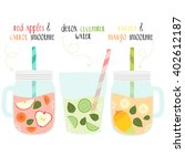 set of summer fresh smoothies... | Shutterstock .eps vector #402612187