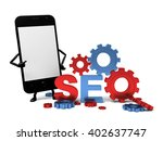 a smartphone and a seo model | Shutterstock . vector #402637747