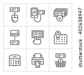 set line icons of booking... | Shutterstock .eps vector #402638947