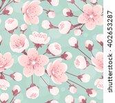 Cherry Blossom Seamless Patter...