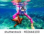 underwater photo of girl with a ... | Shutterstock . vector #402666103