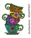 coffee cups. decorative style | Shutterstock .eps vector #402699547