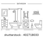 The interior of the shower room. Fittings used in the bathrooms. Elements for bathroom interior. Bathroom interior vector. Bathroom interior element isolated. Bathroom interior outline. | Shutterstock vector #402718033