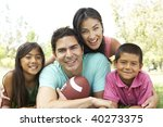 family in park with american... | Shutterstock . vector #40273375