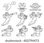 cherub bundle black on white | Shutterstock .eps vector #402794473