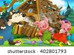 cartoon scene of house being...   Shutterstock . vector #402801793
