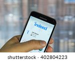 Small photo of MONTREAL, CANADA - APRIL 7, 2016 : Indeed job search application on a cell phone. Indeed is a global online employment solution for people seeking jobs.
