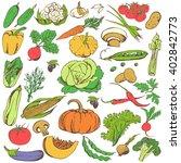 vegetables doodle set. big... | Shutterstock .eps vector #402842773