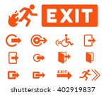 fire exit vector icon set.... | Shutterstock .eps vector #402919837