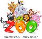word zoo with happy cartoon... | Shutterstock .eps vector #402942037